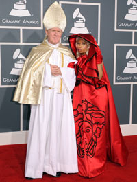 Nicki Minaj arrives at the 54th Grammy awards