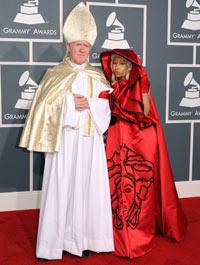 Nicki Minaj arrives at the 54th Grammy awards