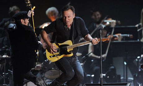 Bruce Springsteen performs at the 54th Grammys in Los Angeles