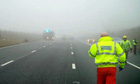Thick fog covers scene of accident on M6 on Sunday