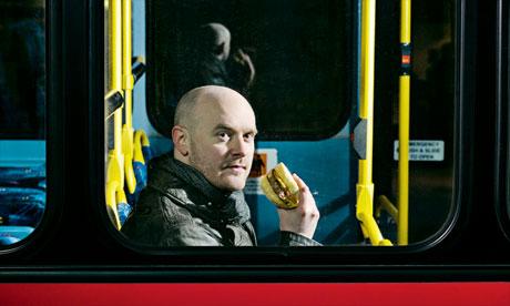Will Beckett eating McDonald's on a bus