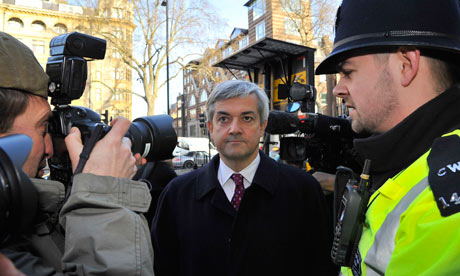 Chris Huhne arrives at Westminster magistrates court