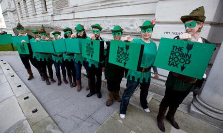 Robin Hood tax campaigners outside the Treasury