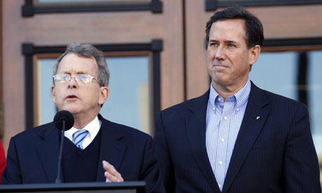 Mike DeWine (left) endorses Rick Santorum