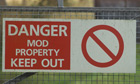Ministry of Defence warning sign