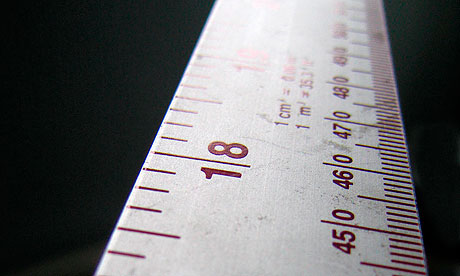 Close up detail of steel ruler