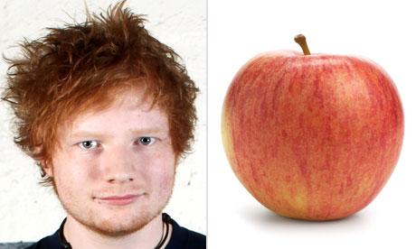 Ed Sheeran apple composite