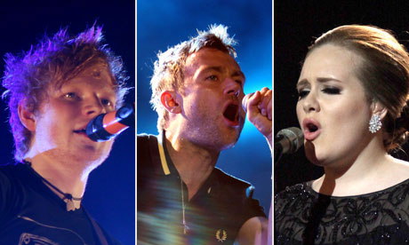 Brits 2012 composite - Adele, Ed Sheeran, Damon Albarn
