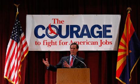 Rick Santorum  speaks during a campaign rally in Phoenix