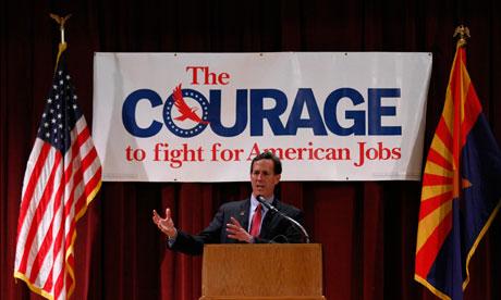 Rick Santorum  speaks during a campaign rally in Phoenix