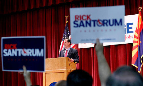 Republican presidential candidate Rick Santorum (R-PA) speaks during a campaign rally in Phoenix