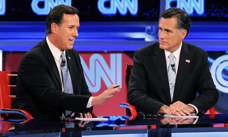 Rick Santorum and Mitt Romney at the CNN Arizona debate