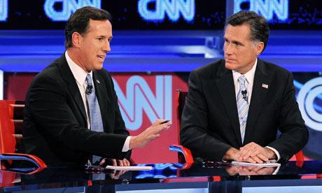 Rick Santorum and Mitt Romney at the CNN Arizona debate
