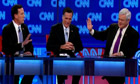 Rick Santorum, Mitt Romney and Newt Gingrich at the Arizona Republican debate