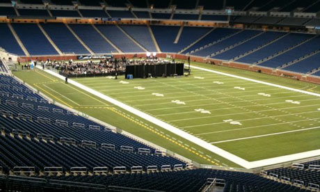 Mitt Romney speaks to empty Ford Field