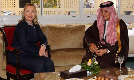 Hillary Clinton meets Saudi foreign minister Saud Al-Faisal