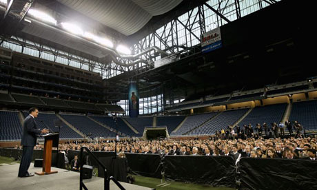 Mitt Romney speaking at Ford Field, Detroit