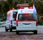 Syrian Red Crescent ambulances in Homs