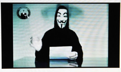 The hacktivist group Anonymous is believed to be the source for emails being published by WikiLeaks from the Stratfor thinktank. Photograph: Louisa Gouliamaki/AFP/Getty