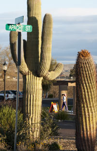 A woman leaves the polling place at Wickenburg