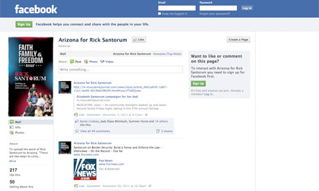 Rick Santorum Arizona Facebook Page