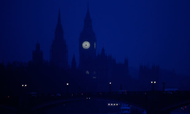 The Houses of Parliament are seen in early morning mist on 19 January 2012.