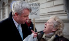 Health secretary Andrew Lansley is confronted by a protester in Whitehall.