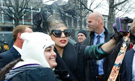 Lady Gaga poses at Harvard