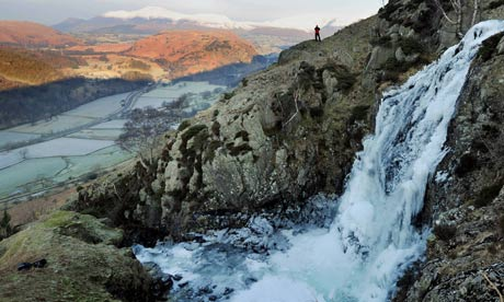 Frozen waterfall at Fisher Gill in the Lake District