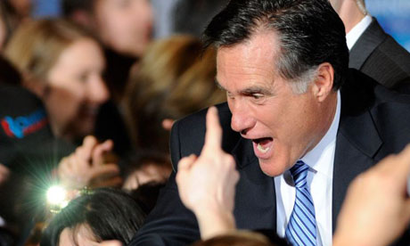 Mitt Romney celebrates with supporters in Las Vegas, Nevada