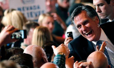 Nevada caucuses winner Mitt Romney greets supporters