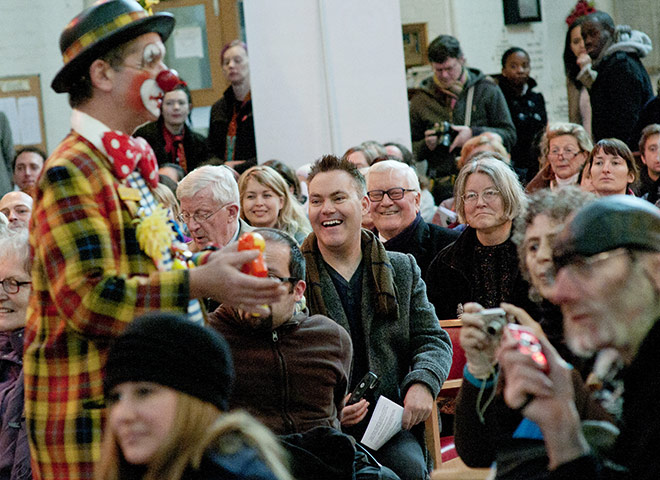 Grimaldi Day: clown entertains congregation