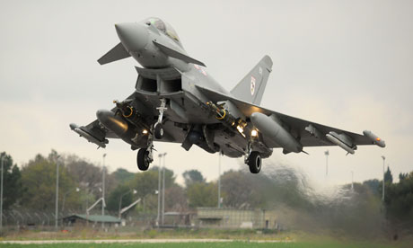 A Royal Air Force eurofighter typhoon flies out of Italy in support of the campaign in Libya