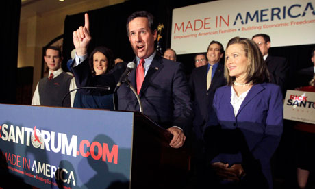 Rick Santorum celebrates in St Charles, Missouri