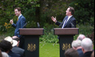 Nick Clegg and David Cameron, rose garden press conference