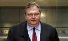 Greece's Finance minister Venizelos leaves his office in Athens