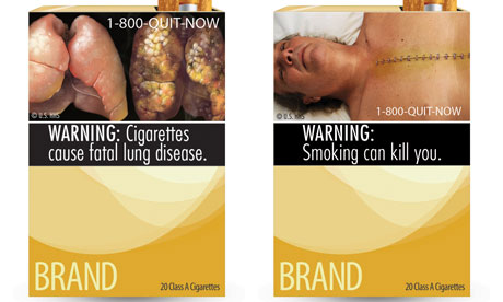 Two of the nine cigarette warning labels blocked by a judge in Washington