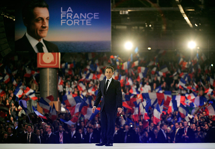 Sarkozy rally: Nicolas Sarkozy walks to the rostrum before making a speech