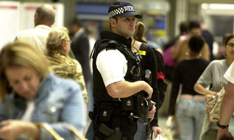 Armed police at Waterloo station