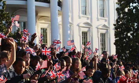 Crowds await the arrival of David Cameron at the White House