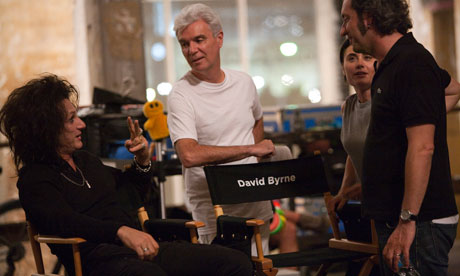 David Byrne with Sean Penn on the set of This Must Be the Place.