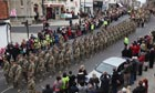 Comrades of the six British soldiers killed in Afghanistan march through Warminster