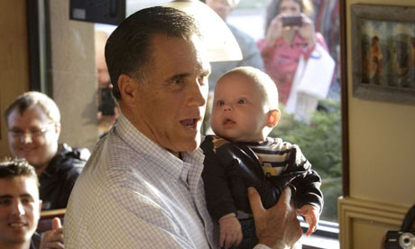 Mitt Romney with baby in Illinois