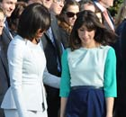 Michelle Obama in Zac Posen, with Samantha Cameron in Roksanda Ilincic