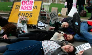 NHS protest outside House of Parliament