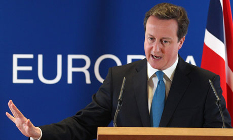 David Cameron issued his call for Syria's president, Bashar al-Assad, to be brought trial at an EU summit in Brussels. Photograph: Yves Logghe/AP