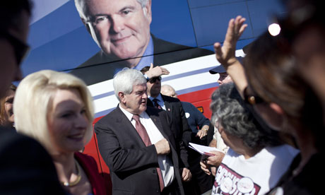 Newt Gingrich campaigning with Callista in Georgia, 2 March 2012