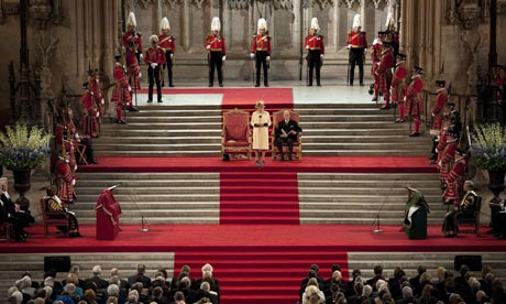 Queen Elizabeth II marks her diamond jubilee with a speech to both Houses of Parliament