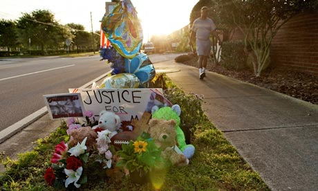 A memorial to Trayvon Martin outside The Retreat at Twin Lakes in Sanford, Florida, in 2012. Photograph: Roberto Gonzalez/Getty Images