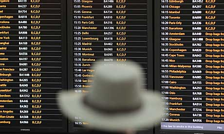 Flight departures board at Heathrow Terminal 5